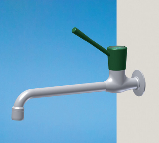 Bib tap for water, wall mounted, aerator, ceramic headwork, wrist action lever, G1/2