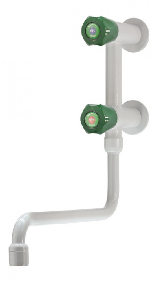 Cold and hot water mixer, wall mounted, lower swivel swanneck, aerator