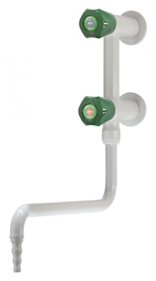 Cold and hot water mixer, wall mounted, lower swivel swanneck, fixed nozzle