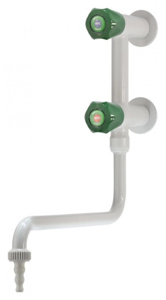 Cold and hot water mixer, wall mounted, lower swivel swanneck, removable nozzle