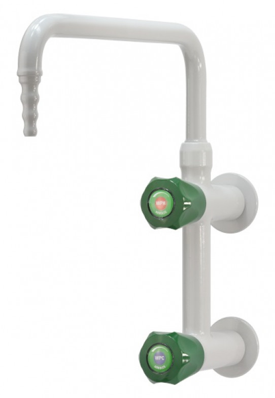 Cold and hot water mixer, wall mounted, upper swivel swanneck, fixed nozzle