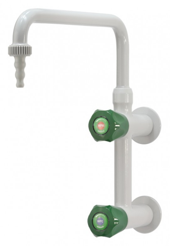 Cold and hot water mixer, wall mounted, upper swivel swanneck, removable nozzle