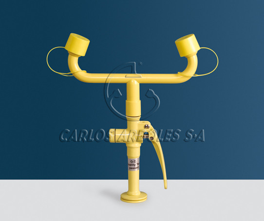 Drench hose double spray eyewash, table mounting