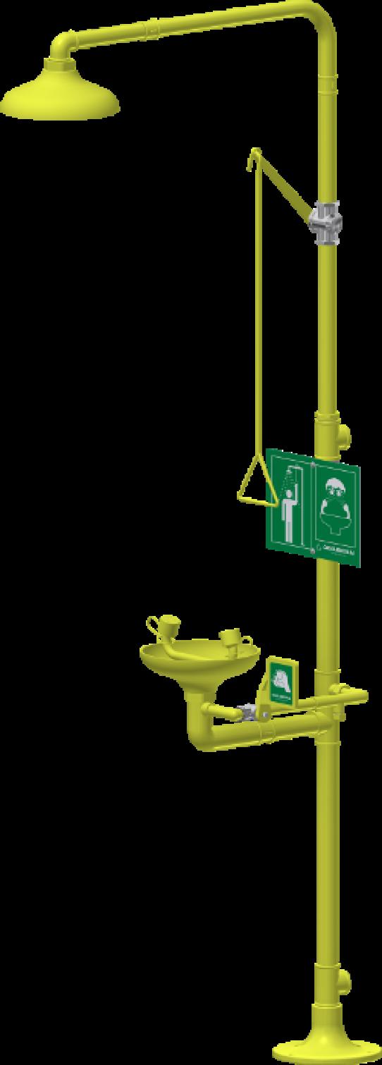 Ducha y lava-ojos sobre pedestal, rociador y recogedor ABS, movilidad reducida
