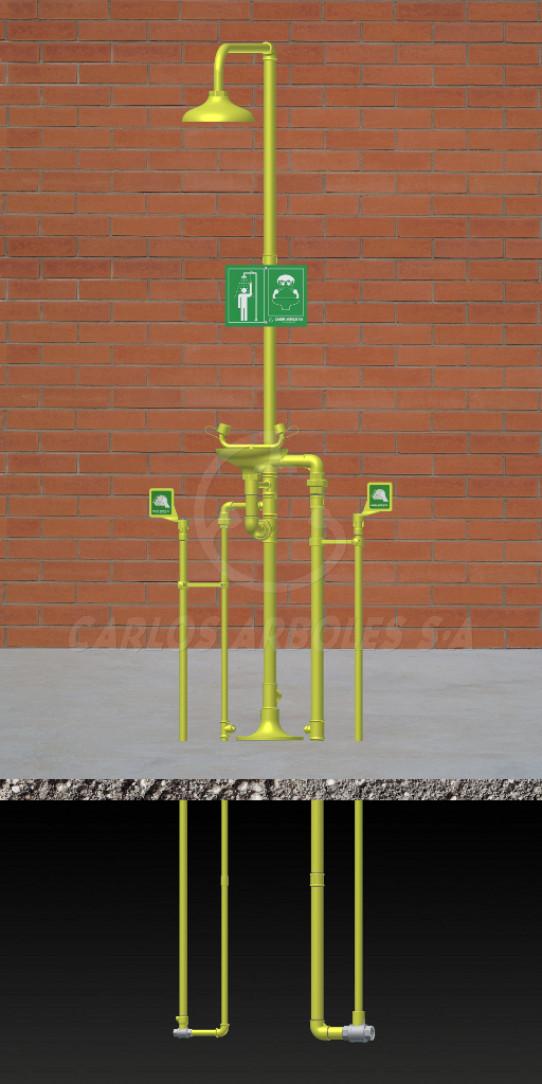 Ducha y Lavaojos, funcionamiento independiente, rociador / recogedor ABS, entrada agua bajo tierra