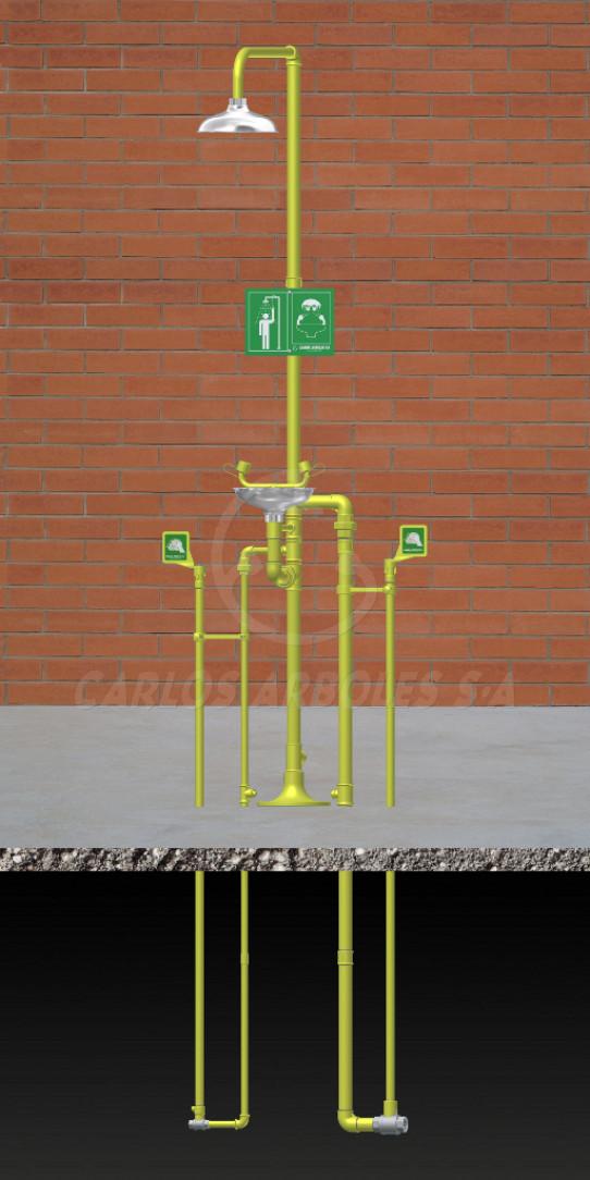 Ducha y Lavaojos, funcionamiento independiente, rociador / recogedor inox, entrada agua bajo tierra