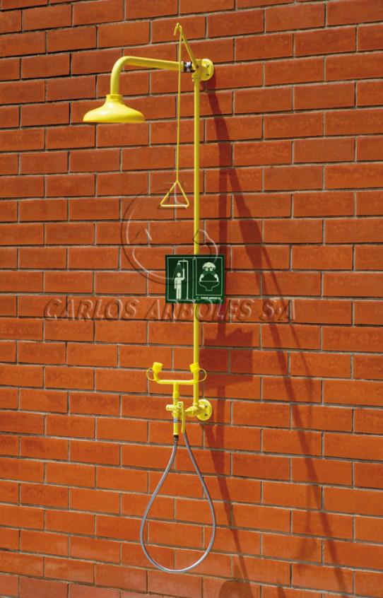 Ducha y Lavaojos manual doble, montaje pared, rociador ABS
