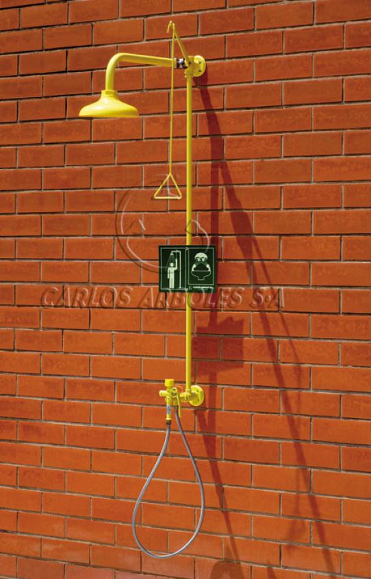 Ducha y Lavaojos manual sencillo, montaje pared, rociador ABS
