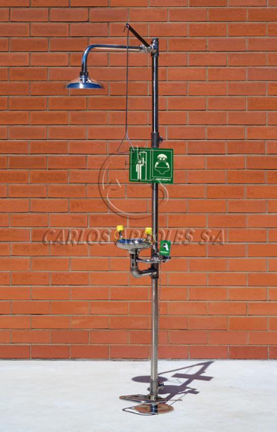 Ducha y Lavaojos sobre pedestal con pedal en acero inoxidable