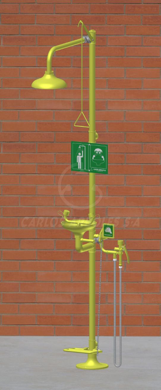 Ducha y Lavaojos sobre pedestal con pedal, rociador / recogedor ABS, incluye ducha manual