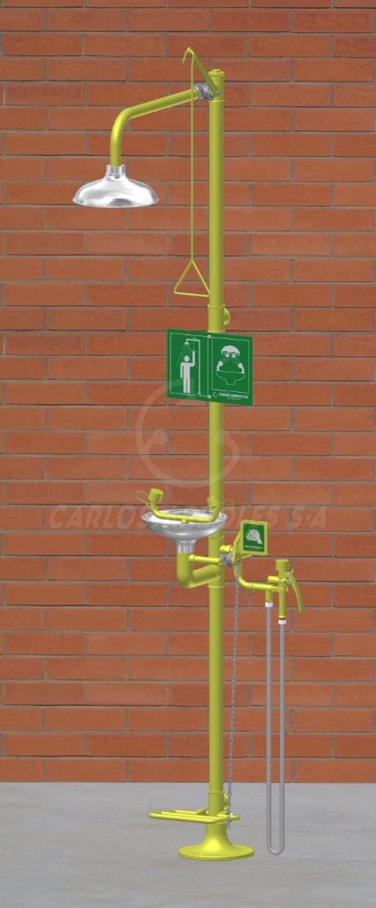 Ducha y Lavaojos sobre pedestal con pedal, rociador / recogedor inox, incluye ducha manual