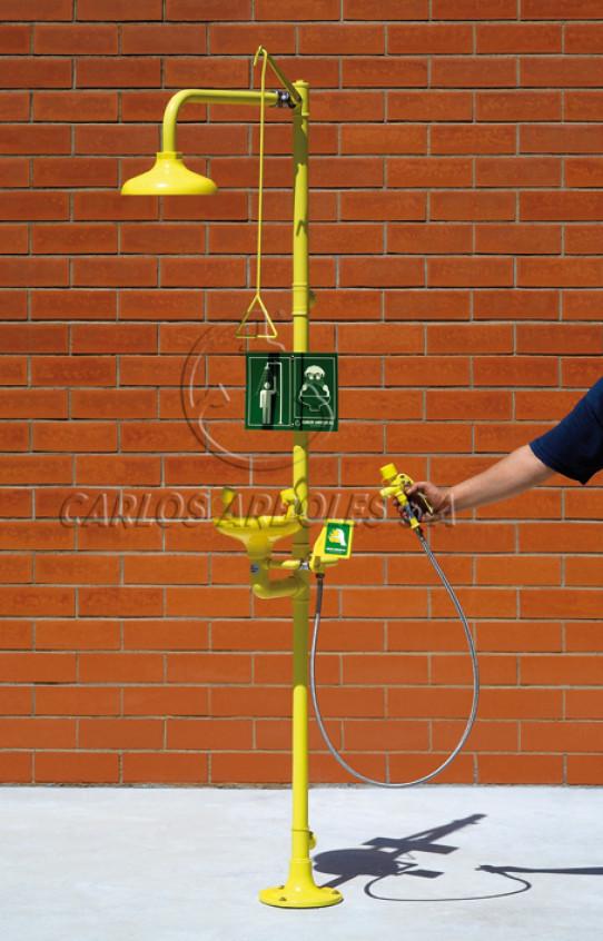 Ducha y Lavaojos sobre pedestal, rociador / recogedor ABS, incluye ducha manual