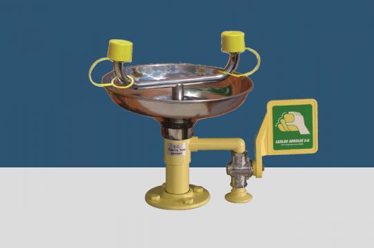 Eyewash, table mounting, stainless steel bowl