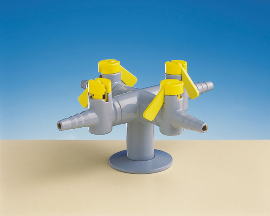 Four way drop lever tap for burning gas, fitted with non-return valves and restrictors