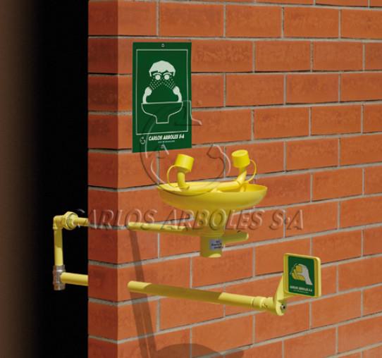 Lava-ojos mural con autovaciado, entrada agua interior pared, recogedor ABS