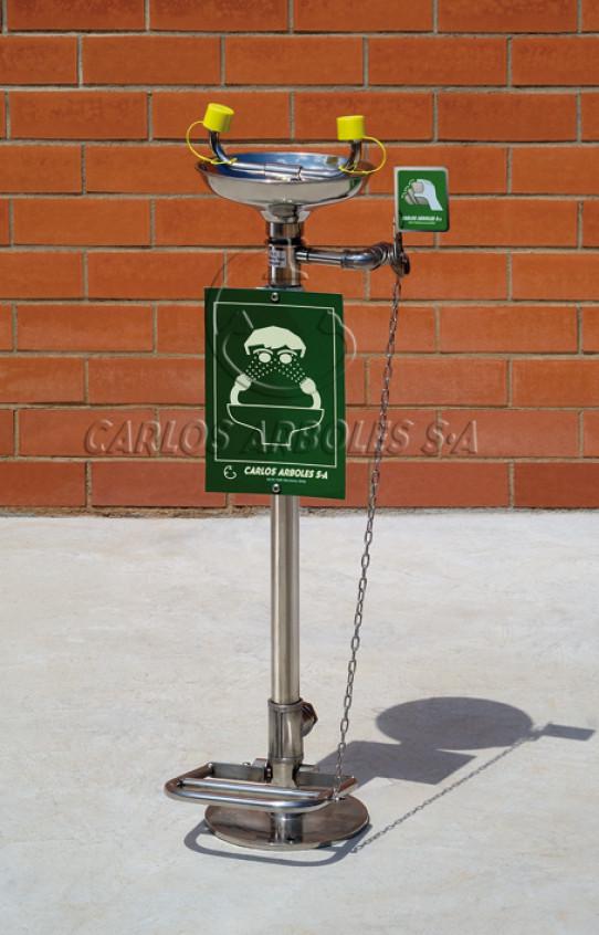 Lava-ojos sobre pedestal con pedal en acero inoxidable