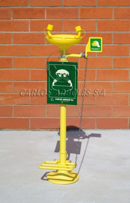 Lava-ojos sobre pedestal con pedal, recogedor ABS