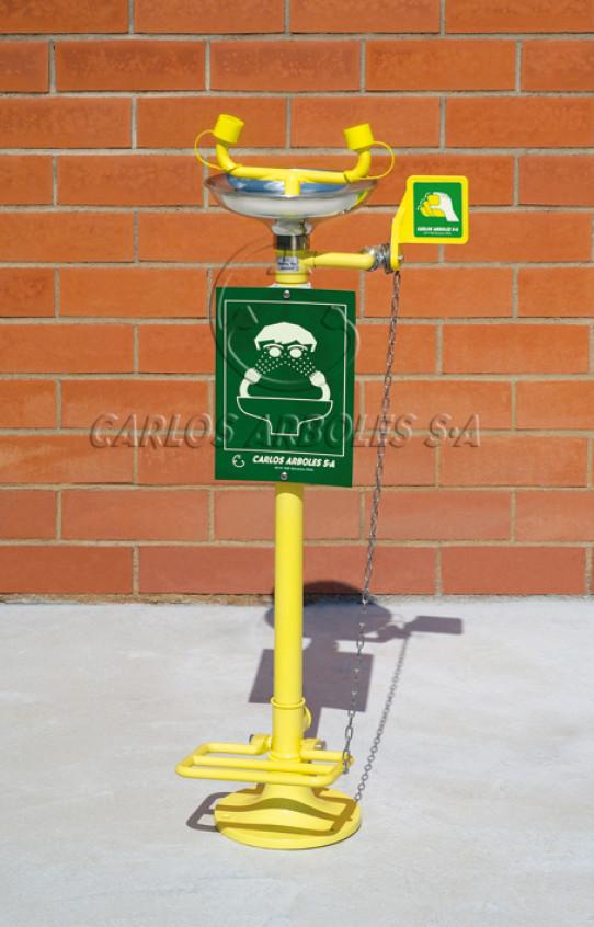 Lavaojos sobre pedestal con pedal, recogedor inox