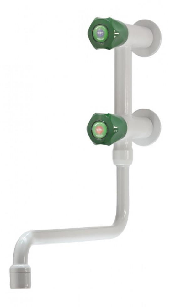 Mezclador agua fría y caliente vertical, montaje mural, caño giratorio inferior, aireador