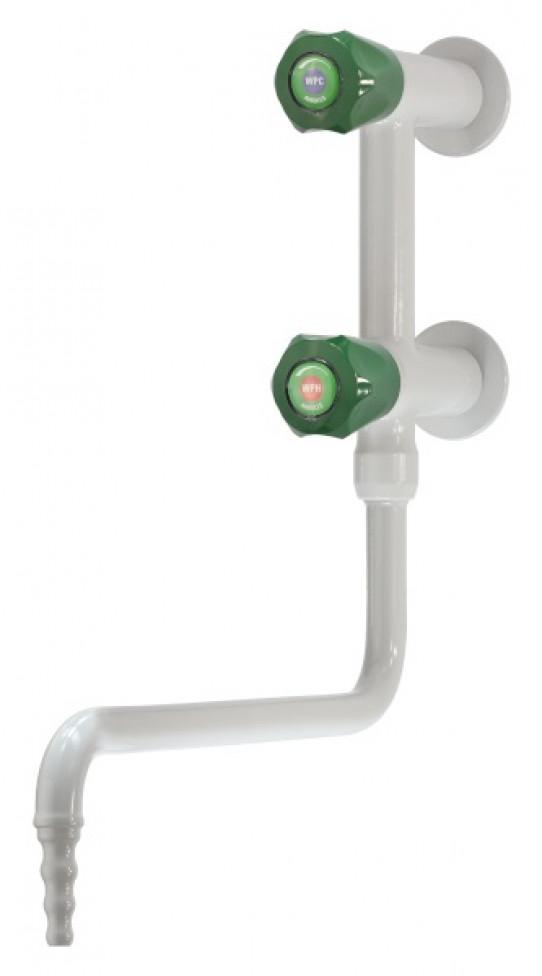 Mezclador agua fría y caliente vertical, montaje mural, caño giratorio inferior, boquilla fija