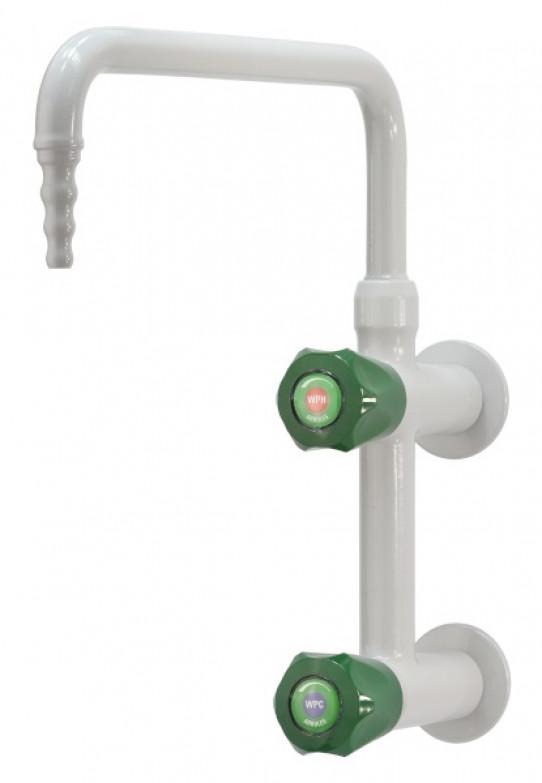 Mezclador agua fría y caliente vertical, montaje mural, caño giratorio superior, boquilla fija