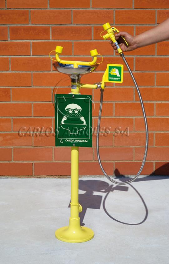 Pedestal Eyewash, SS bowl, includes spray unit