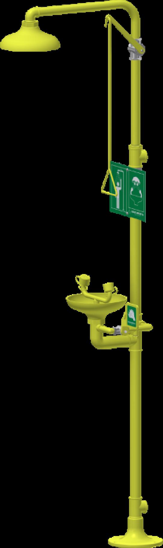 Pedestal shower and eyewash, ABS shower head / bowl, low ceiling
