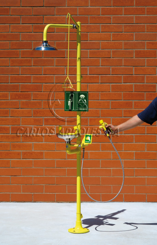 Pedestal Shower and Eyewash, SS shower head / bowl, includes spray unit