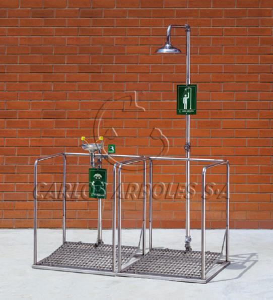 Plataforma doble con ducha y lava-ojos en acero inoxidable, funcionamiento independiente