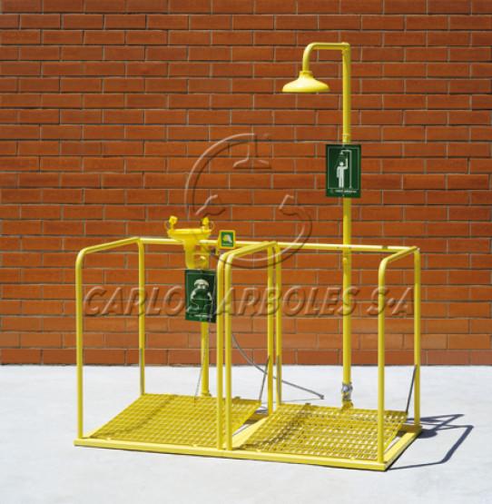 Plataforma doble con ducha y lava-ojos, funcionamiento independiente, rociador y recogedor ABS