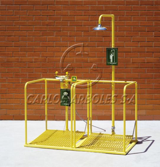 Plataforma doble con ducha y lava-ojos, funcionamiento independiente, rociador y recogedor inox