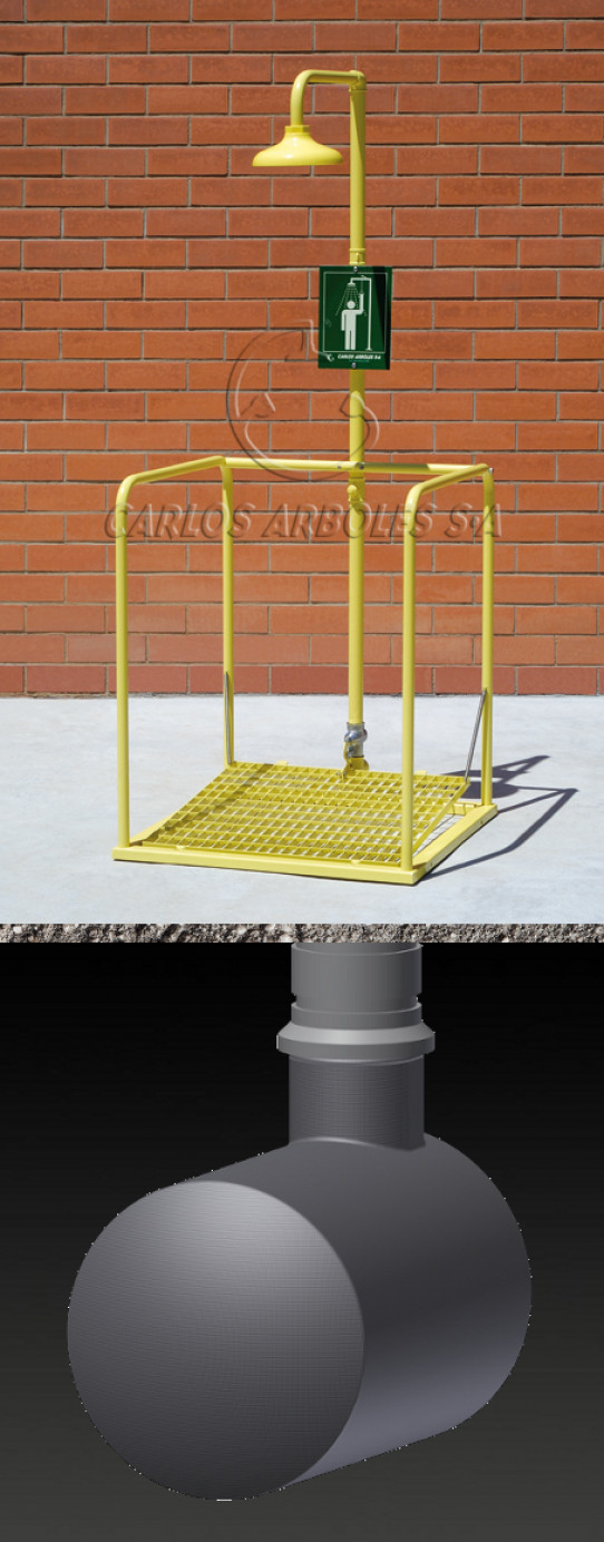 Plataforma Ducha, depósito enterrado, rociador ABS