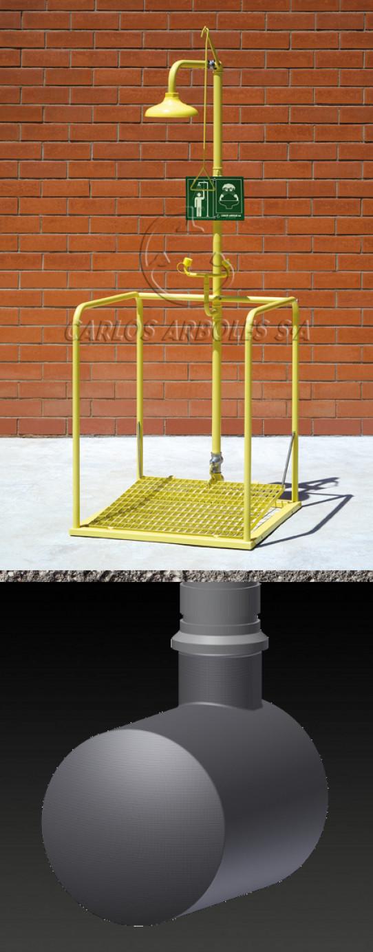 Plataforma Ducha y Lavaojos, funcionamiento independiente, depósito enterrado, rociador ABS
