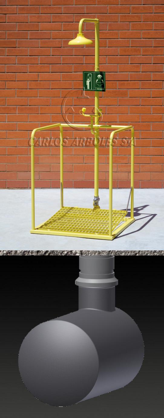 Plataforma Ducha y Lavaojos, funcionamiento simultáneo, depósito enterrado, rociador ABS
