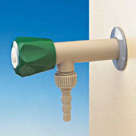 PP angle tap for special waters, wall mounted, removable nozzle, plastic headwork