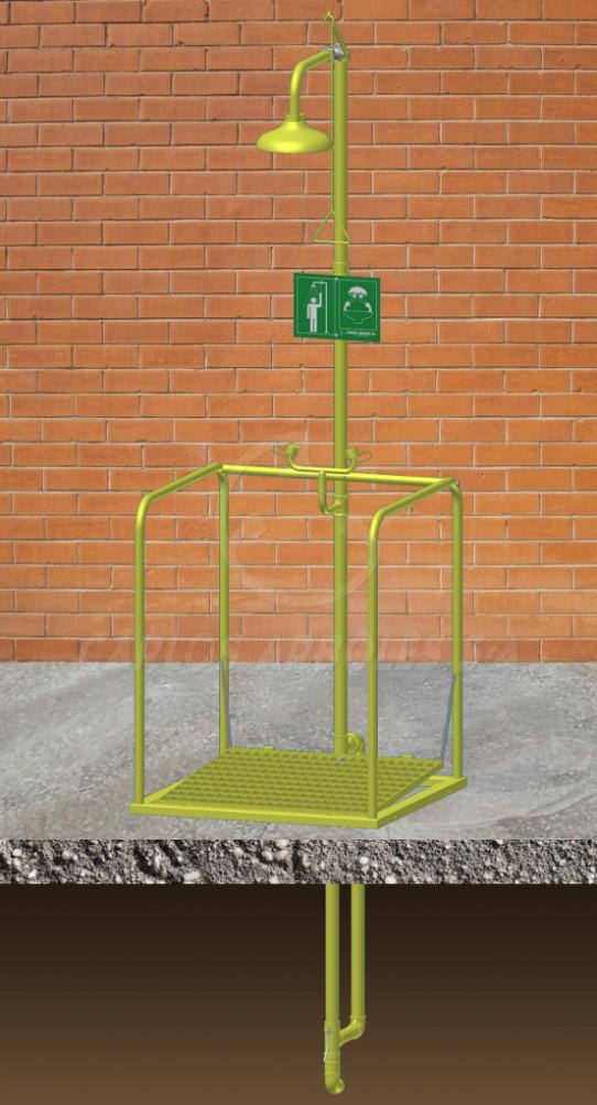 Shower and Eyewash platform, independent operation, underground water supply, ABS shower head