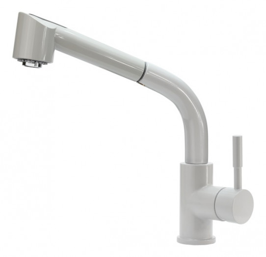 Single handle cold and hot water mixer with pull-out shower, bench mounted, aerator