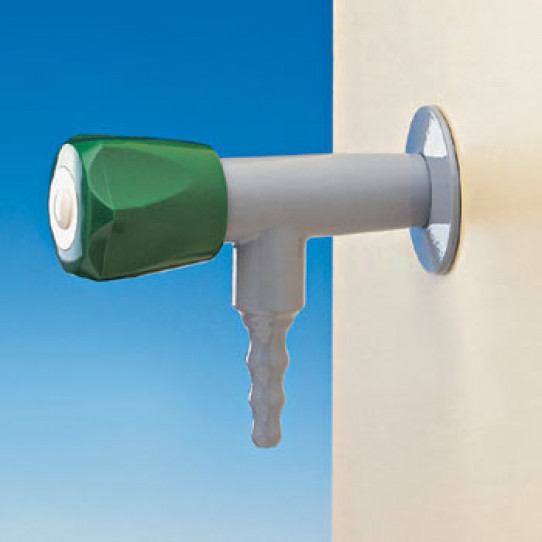 Stainless steel angle tap for special waters, wall mounted, fixed nozzle, plastic headwork