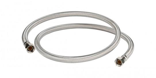 Tubo flexible 1.5m en acero inoxidable para lava-ojos manual doble