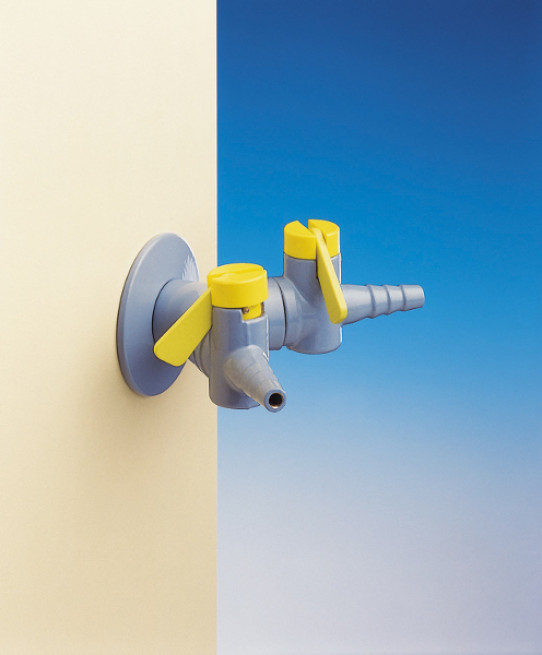 Two way drop lever tap for burning gas, fitted with non-return valves and restrictors