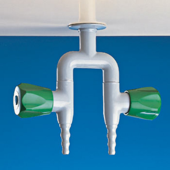 Two way in line tap for water, pendant mounted
