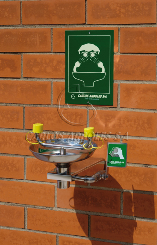 Wall eyewash in stainless steel, with bowl